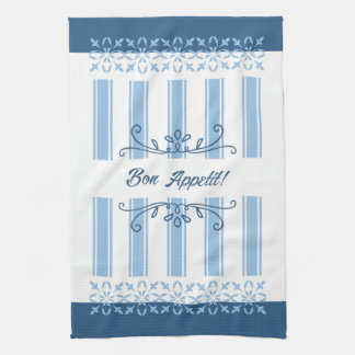 French country blue damask striped bon appetit tea towels