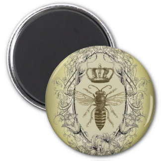 french country chic victorian crown queen bee 6 cm round magnet