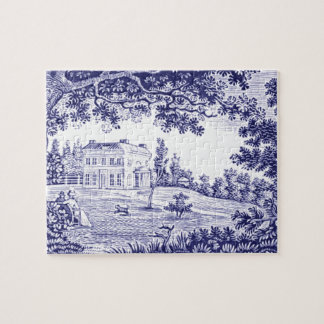 French Country Decor Blue Toile Jigsaw Puzzle
