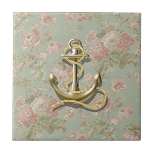 french country floral girly nautical anchor tile