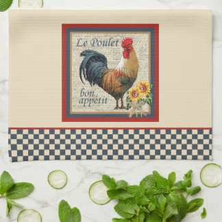 French Country Kitchen Blue Rooster Tea Towel