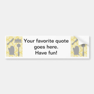 French Country Kitchen -Pans on floral damask. Car Bumper Sticker