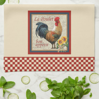 French Country Kitchen Rooster Red Checkerboard Tea Towel