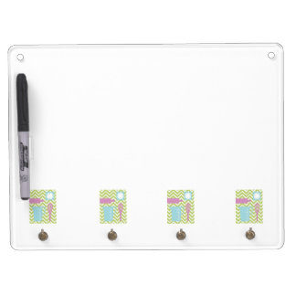 French Country Kitchen - Utensils on chevron. Dry Erase Board With Key Ring Holder