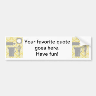 French Country Kitchen - Utensils on damask floral Car Bumper Sticker