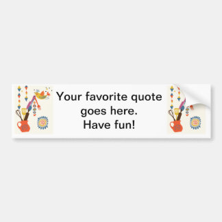French Country Kitchen - Utensils on floral. Car Bumper Sticker