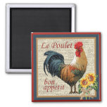 French Country Kitchen Vintage Rooster Square Magnet
