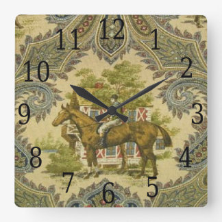 French Country Paisley Show Horse Print Clock