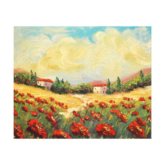 French Country Red Poppies Impressionist Canvas