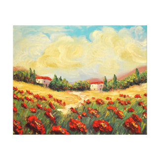 French Country Red Poppies Impressionist Canvas Canvas Print