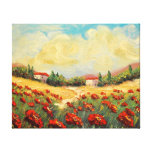 French Country Red Poppies Impressionist Canvas Gallery Wrap Canvas