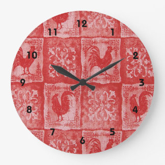French Country Red Roosters Print Clock