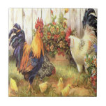 French Country Rooster Hen Ceramic Tile