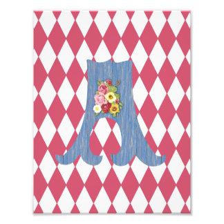 French Country Rose Harlequin Blue Custom Monogram Art Photo