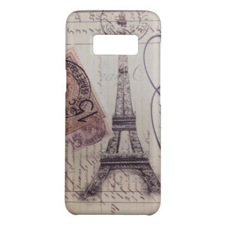 french country vintage scripts  paris eiffel tower Case-Mate samsung galaxy s8 case