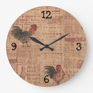 French Country Wallpaper Roosters Print Clock