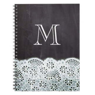 French country white lace chalkboard monogram notebooks
