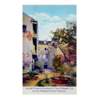 French Courtyard, New Orleans Vintage Poster