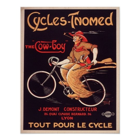 French Cowboy Bicycle Ad Poster