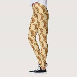 French Croissant Hot Flaky Buttery Pastry Foodie Leggings