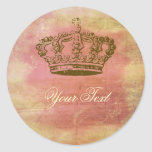 French Crown Stickers Labels Pink & Ivory