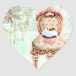 French Cupcake Victorian Style Heart Sticker