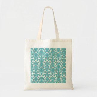 French Damask, Ornaments, Swirls - Blue White Budget Tote Bag