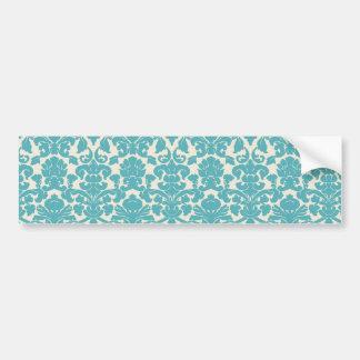 French Damask, Ornaments, Swirls - Blue White Car Bumper Sticker