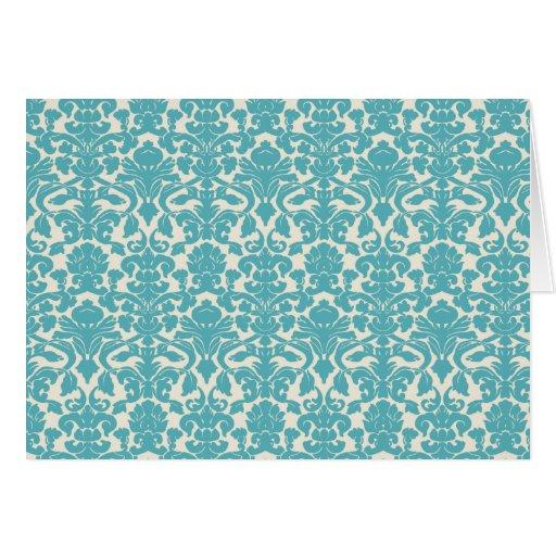 French Damask, Ornaments, Swirls - Blue White Greeting Card