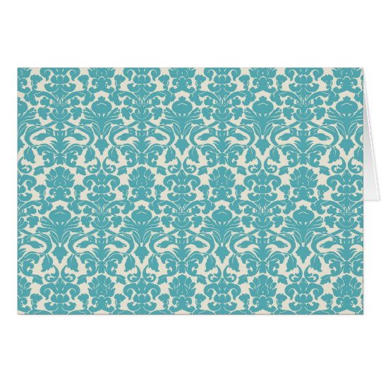 French Damask, Ornaments, Swirls - Blue White Greeting Card
