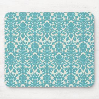 French Damask Ornaments Swirls - Blue White Mousepads