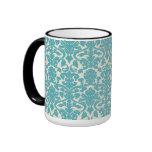 French Damask, Ornaments, Swirls - Blue White Ringer Mug