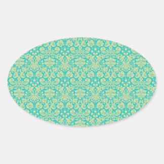 French Damask, Ornaments, Swirls - Blue Yellow Oval Sticker