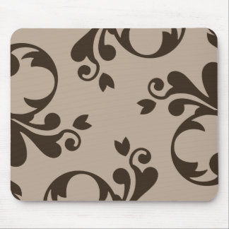 French Damask, Ornaments, Swirls - Brown Mouse Pads
