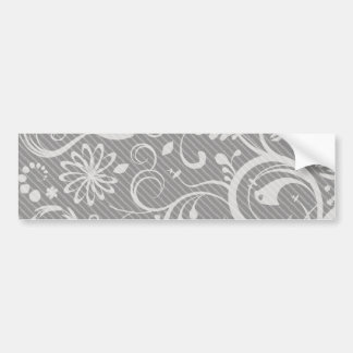 French Damask, Ornaments, Swirls - Gray White Bumper Stickers