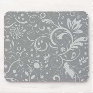 French Damask, Ornaments, Swirls - Gray White Mouse Pads