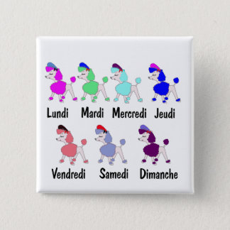 French Days of the Week 15 Cm Square Badge