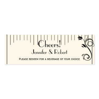 French Deco Rose Black Cream Wedding Drink Tickets Business Cards