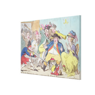 'French Democrats Surprising the Royal Runaways', Stretched Canvas Print