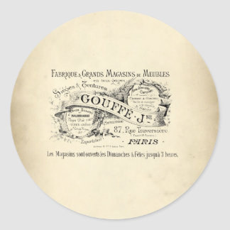 French Department Store Sign Round Sticker