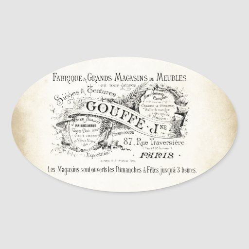 French Department Store Sign Oval Stickers
