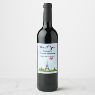 French Design - Eiffel Tower in Paris Thank You Wine Label