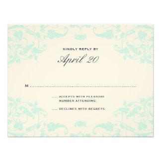 French Dream Wedding RSVP Teal Invitation