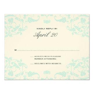 French Dream Wedding RSVP Teal 11 Cm X 14 Cm Invitation Card