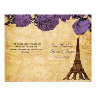 French Eiffel tower purple folded Wedding program 21.5 Cm X 28 Cm Flyer