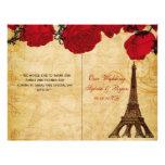 French Eiffel tower red  folded Wedding program 21.5 Cm X 28 Cm Flyer