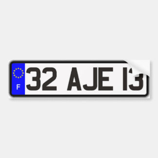 French Euro License Plate White Bumper Sticker