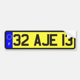 French Euro License Plate Yellow Bumper Sticker