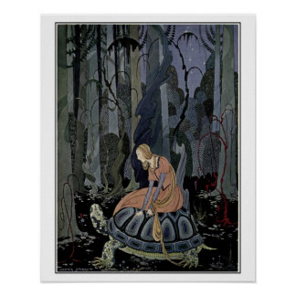 French fairy tales: Blondine on turtle Poster