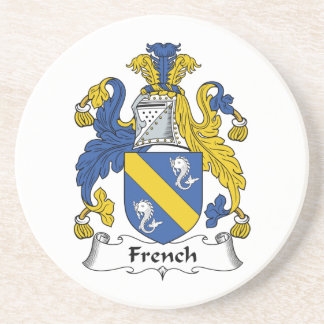 French Family Crest Drink Coaster